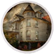 Fantasy - Haunted - The Caretakers House Round Beach Towel by Mike Savad