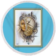 Fantasy Art - Time Encaptulata For A Woman's Face, Clock, Gears And More. L A S With Ornate Frame. Round Beach Towel