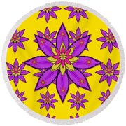 Fantasy Big Flowers In The Happy Jungle Of Love Round Beach Towel