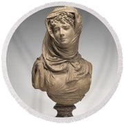 Fantasy Bust Of A Veiled Woman (marguerite Bellanger?) Round Beach Towel