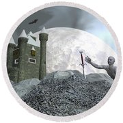 Fantasy Castle - 3d Render Round Beach Towel
