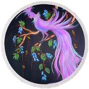 Fantasy Feather Bird Round Beach Towel