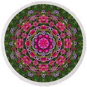 Fantasy Floral Wreath In The Green Summer  Leaves Round Beach Towel