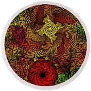 Fantasy Flowers Woodcut Round Beach Towel