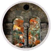 Fantasy Goldfish Aquarium Round Beach Towel