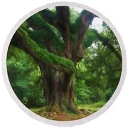 Fantasy Oak Round Beach Towel