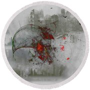 fantasy on theme War the Worlds by Herbert Wells Round Beach Towel