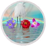Fantasy Stork-flowers-rainbow On Ocean Round Beach Towel