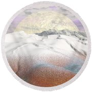 Fantasy Winter Landscape - 3d Render Round Beach Towel