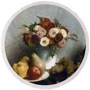 Fantin-latour: Fruits, 1865 Round Beach Towel
