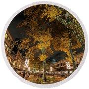 Fanueil Hall Boston Ma Autumn Foliage Round Beach Towel