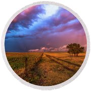 Far And Away - Open Prairie Under Colorful Sky In Oklahoma Panhandle Round Beach Towel