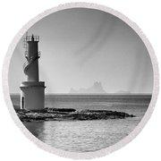 Far De La Savina Lighthouse, Formentera Round Beach Towel