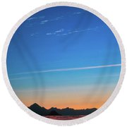 Far Mountains Round Beach Towel