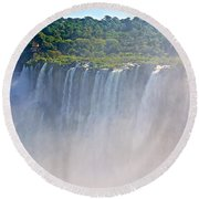 Far Side Of Devil's Throat In Iguazu Falls National Park-argentina   Round Beach Towel