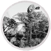 Faraway Windmill Round Beach Towel