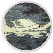 Farbiger Holzschnitt Zwei Schw Ne 1902 Round Beach Towel