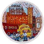Farine Five Roses Montreal 375 Hometown Hockey Hotel Bonaventure Tour Bus Canadian Art C Spandau Art Round Beach Towel
