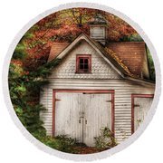 Farm - Barn - Our Old Shed Round Beach Towel by Mike Savad