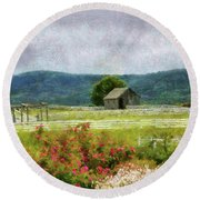 Farm - Barn - Out In The Country  Round Beach Towel