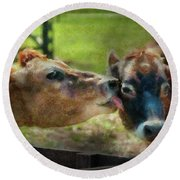 Farm - Cow - Let Mommy Clean That Round Beach Towel