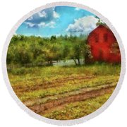 Farm - Farmer - Farm Work  Round Beach Towel