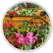 Farm - Food - At The Farmers Market Round Beach Towel