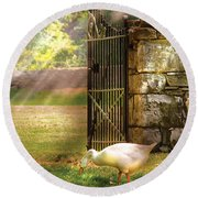 Farm - Geese -  Birds Of A Feather Round Beach Towel