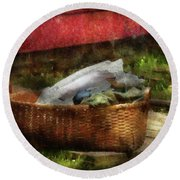 Farm - Laundry  Round Beach Towel by Mike Savad