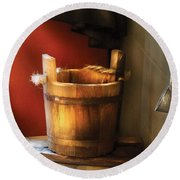 Farm - Pail - Water Pail And Ladel Round Beach Towel