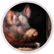 Farm - Pig - Piggy Number Two Round Beach Towel