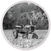 Farm All In  Corn Field Blsck And White Round Beach Towel