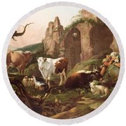 Farm Animals In A Landscape Round Beach Towel