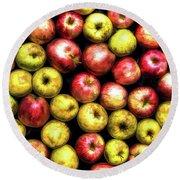 Farm Apples Round Beach Towel