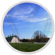 Farm At Sunset Round Beach Towel