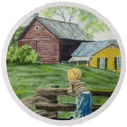 Farm Boy Round Beach Towel