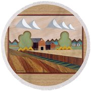 Farm By Ripon-marquetry Round Beach Towel