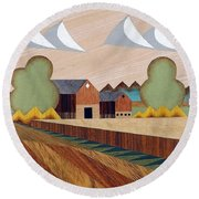 Farm By Ripon -marquetry-image Round Beach Towel