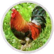 Farm - Chicken - The Rooster Round Beach Towel