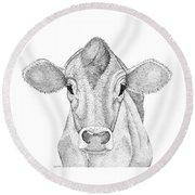Farm Cow In Pointillism Round Beach Towel