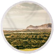 Farm Fields To Seaside Shores Round Beach Towel