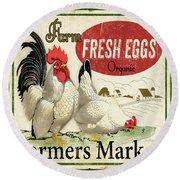 Farm Fresh Eggs-b Round Beach Towel