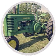 Farm Green Tractor Vintage Style Round Beach Towel