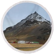 Farm Houses At The Base Of Mt Stapafell In Iceland Round Beach Towel
