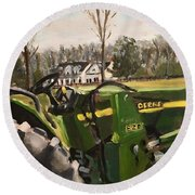 Farm In Chapel Hill Round Beach Towel