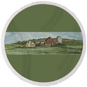 Farm In Summer Round Beach Towel
