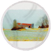 Farm In The Country Round Beach Towel