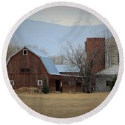 Farm In The Foothills Round Beach Towel