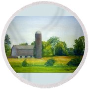 Farm In The Pine Barrens  Round Beach Towel