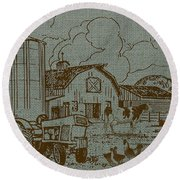 Farm Life-jp3236 Round Beach Towel